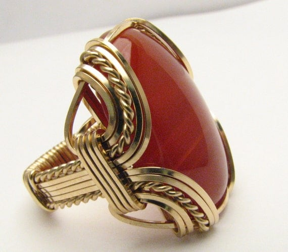 Handmade Solid 14kt Gold Wire Wrap Red Carnelian Ring