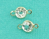 14k Solid Gold 4mm WhiteTopaz Circle Bezel Station Connector PAIR