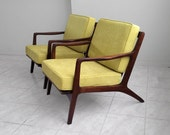 2 RESTORED mid century modern KOFOD style black walnut lounge chairs