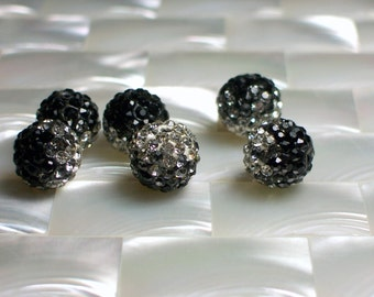 2pcs Pave Crystal Rhinestone 10mm Beads Black/White/Clear Round Jewelry Jewellery Craft Supplies