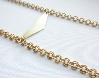 Brass and Smokey Quartz Necklace