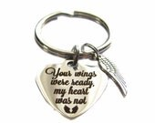 """Stainless Steel """"Your Wings Were Ready, My Heart Was Not"""" Charm Angel Wing Charm Keychain, In Memory Of, Loss Of Loved One, Memorial Gift"""