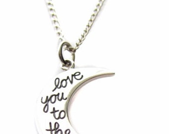 "Sterling Silver ""Love You To The Moon"" Moon Shaped Quote Message Charm Necklace 18"" or 24"", Valentine's Day Gift Jewelry"