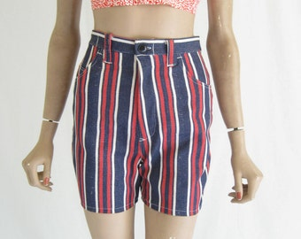 Vintage 70's Striped DENIM Shorts. Size  X Small