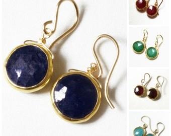 Precious Gem Sapphire Earrings Blue Sapphire Earrings Real Sapphire Jewelry Precious Sapphire Earring 18k Gold Bezel BZ-E-105-Sapphg