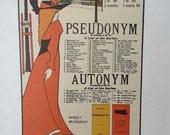 PRINT SALE 20% OFF Vintage 1971 Art Nouveau London Book Author Illustration Bookplate Print for Framing, Woman with Book List, Aubrey Beards