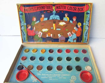 1930's Vintage Child's Knights of the Round Table Water Color Paint Box Set, Vintage Paint Set, Vintage Game, American Crayon Co Vintage Toy