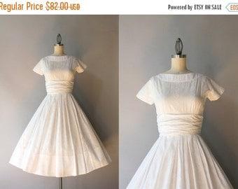 STOREWIDE SALE 50s Dress / Vintage 50s White Cotton Dress / Fifties Full Skirt Howard Wolf Cotton Dress