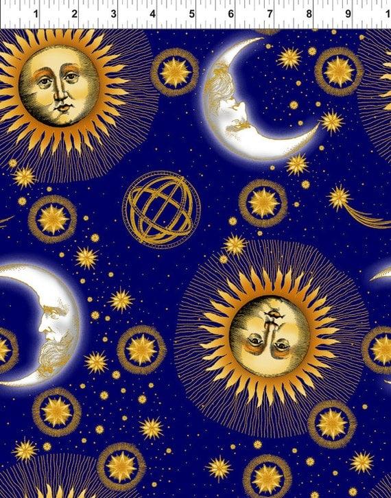 Celestial blue sun moon stars jason yenter fabric 1 yard last for Sun and moon material