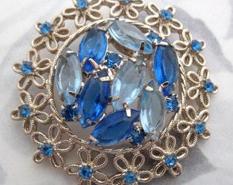 vintage prong set rhinestone sapphire blue flower floral brooch pin - j6417