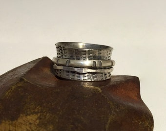 Sterling Silver Spinner Ring - Wide Band  - Hand Stamped  - Size 9.50 - Made to Order