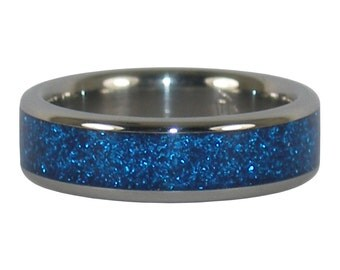 Blue Metallic Titanium Ring