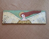 Angel Painting Original Folk Art by the artist One of a kind Prim rustic  wall decor FREE SHIPPING
