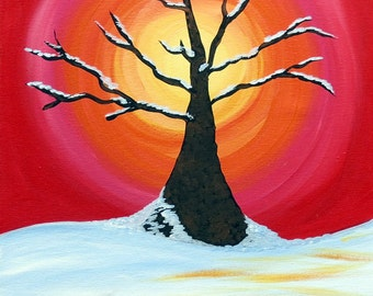 "Snow Tree with Sunshine Acrylic Painting 16"" x 20"" Ready to Hang"