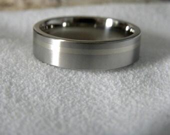 Titanium Ring with 1mm Offset White Gold Inlay, Satin Finish, Wedding Band