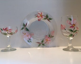 Vintage Franciscan Apple Blossom Hand painted dessert set