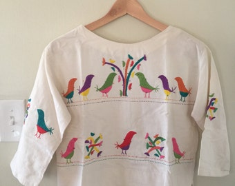 Vintage Authentic Mexican Bird Embroidered Cotton Folk Blouse