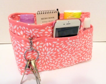 "Purse Organizer Insert/Enclosed Bottom  4"" Depth/ Peach and White Floral Burst"