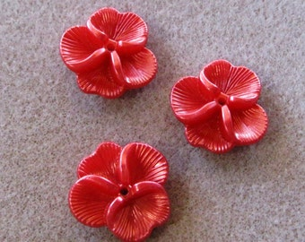 Lucite Acrylic Pearl Christmas Red Pansy Flower Cap Beads 22mm 425