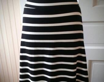 Jersey Knit Skirt - Black and White Stripe - Size Medium