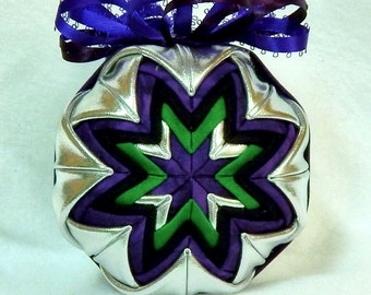 Quilted Christmas Ornament - Silver/Green/Purple