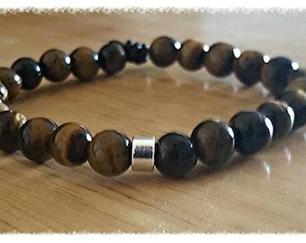 tigers eye bracelet, stone bracelet men, mala beads bracelet, stacking bracelet, gift dad, husband gift, yoga bracelet for men, gift for him