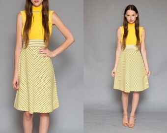 Vintage 60s Mustard Yellow Sporty Mod Mini Dress // Tennis Striped High Neck Dress - Size Small/Medium