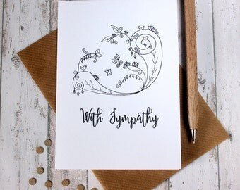 Sympathy Card. Sympathy Cards. With Sympathy. Floral Card. Hand Drawn Illustration. Illustration. Black and White. B&W. Illustrated Card