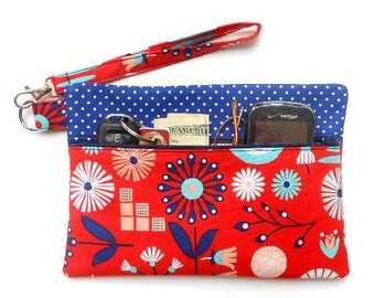 Red Floral Wristlet, Blue White Dots Clutch, Makeup or Camera Bag, Phone or Gadget Holder, Front Zippered Wallet, Ladies Red Small Purse