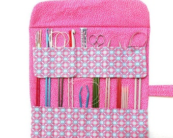 Pink Blue Knitting Needle Case, Crochet Hook Roll Up, Knitting Organizer, Hook Holder, Brushes and Colored Pencil Case, DPN Storage
