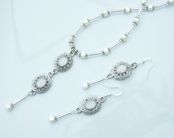 SET - Silver & White Cube Pearl Elegant Pendant Necklace and Earrings Wedding Idea