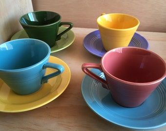 Vintage Set of 4 Homer Laughlin Harlequin Cups and Saucers - Mid century Modern mcm  Pink Yellow, Green, & Turquoise
