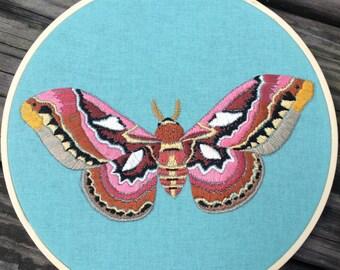 Silk moth embroidered hoop art