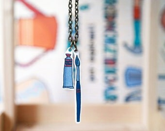 Painter pendant necklace with paint brush and paint tube illustration charm