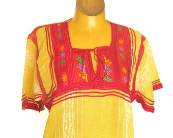 1970s Vintage Caftan Dress Yellow Gauze with Embroidered Yoke / Boho Dress / Festival Dress / Made in Morocco