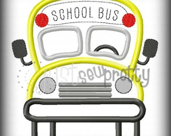 School Bus Embroidery Applique Design