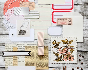 Mini Inspiration Kit - Peaches and Cream / Daily Planner / DIY Mini Album / Paper Ephemera