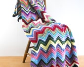 Custom for Victoria Vintage Colorful Afghan • Chevrons Rainbow of Colors  • Vintage Soft Acrylic Afghan