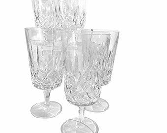 12 Lead Crystal Wine Goblets, Vintage 1920s Era Glassware, Fine Antique Drinking Glasses