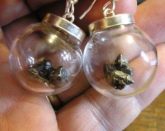 METEORITE Earrings, in Glass Globes, Sterling Silver for pierced ears, HANDMADE / NEW!