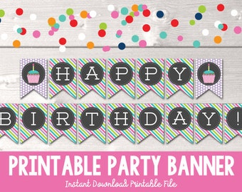 Happy Birthday Printable Banner Party Bunting Girls Cupcake Polka Dots Stripes PDF - INSTANT DOWNLOAD