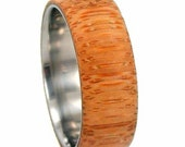 Eco Friendly Wood Ring, Titanium Wedding Band With A Bamboo Overlay, Ring Armor Included