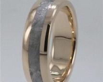 Meteorite Rings / Asteroid Metallic / 14K Gold Meteorite Ring / Gibeon Meteorite Jewelry Metallic Asteroid Ring