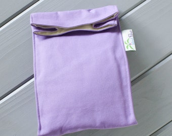 Light Purple Organic Lunch Bag - Organic Cotton, Eco Friendly, Fully Insulated - Back to School Waste Free