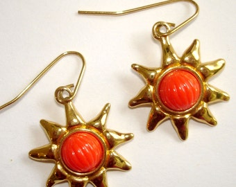 vintage cheerful gold sun pierced earrings with orange cabochons