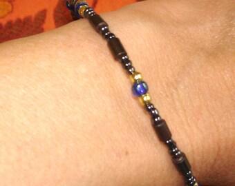 vintage large size beaded bracelet or anklet cobalt and gunmetal beads