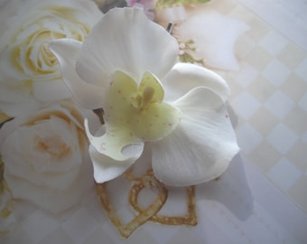 Large White Silk Orchid Silver Toned Bobby Pin Handmade For Weddings Or Any Special  Occasion Sold Seperately Two Inch Orchid