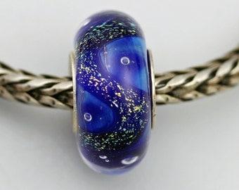 Unique Silvered Blue Uniques Bead  - Artisan Glass Charm Bracelet Bead (JUN-39)