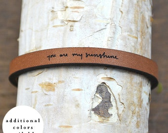 you are my sunshine - adjustable leather bracelet  (additional colors available)