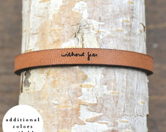 without fear - adjustable leather bracelet  (additional colors available)